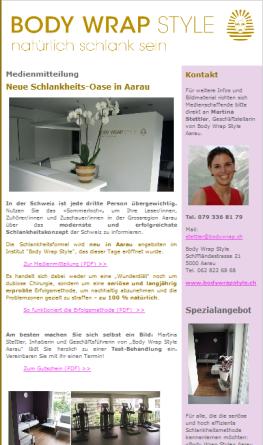 Online-Medieninformation zur Neueröffnung der Aarauer Filiale von BODY WRAP Style.