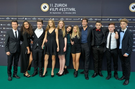 ZURICH, SWITZERLAND - SEPTEMBER 30: Cast and crew attend the 'Amateur Teens' Photocall during the Zurich Film Festival on September 30, 2015 in Zurich, Switzerland.